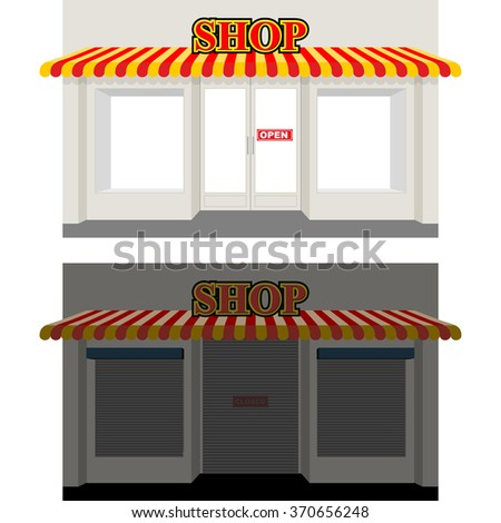 Shop by day and night. Storefront at dusk. Shop window in Sun. Shop is open. Sign shop is closed. Closed window showcases blinds.