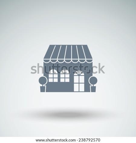 shop, cafe building  vector icon - stock vector
