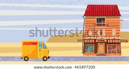 Shop, delivery, cargo bus, landscape, Cartoon, Banner, vector illustration