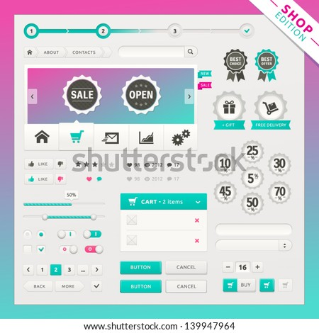Shop edition of vector ui elements for web and mobile. Controls, buttons and icons. Fitted to the pixel grid. - stock vector