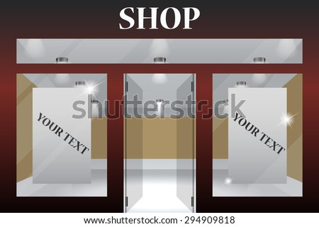 Shop Front. Exterior horizontal windows empty for your store product presentation or design.Part of set - stock vector