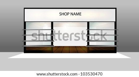 Shop Front with empty display - stock vector