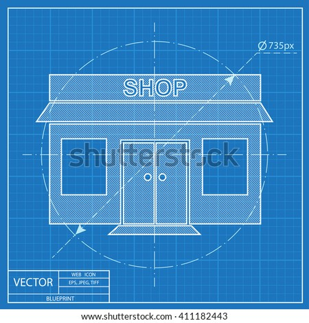 Shop icon blueprint style vectores en stock 411182443 shutterstock blueprint style malvernweather Gallery