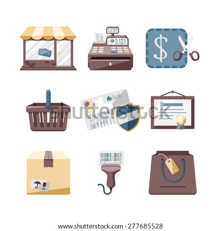 Shop icons set // Flat design retro style - stock vector