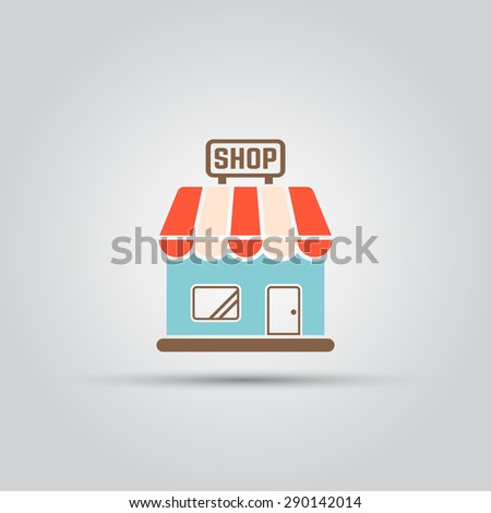 Shop isolated vector colored icon - stock vector