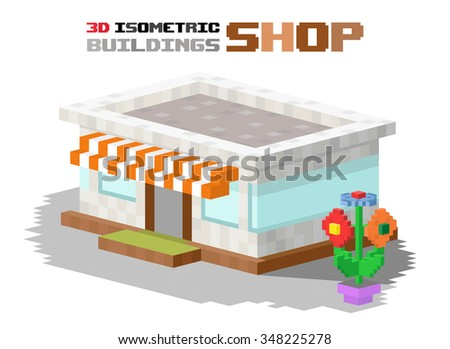 Shop market building vector illustration. 3d shop store building isolated on white background. Shop store kiosk 3d building. Shop vector, shop building. 3d isometric view building vector construction - stock vector