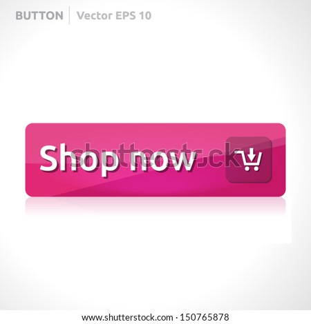 Shop now button template | vector design | business banner with symbol icon | website element | pink - stock vector