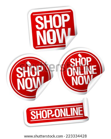 Shop now, online store stickers set.