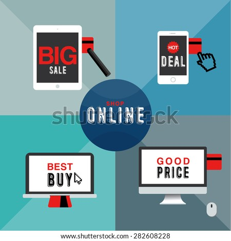SHOP ONLINE Devices and credit card have been acting when you have a great opportunity to shop online. - stock vector