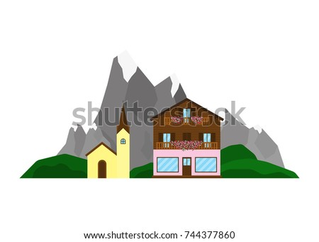 Shop or chalet and church on the landscape with Alpine mountains, green hills in flat style isolated on white background.