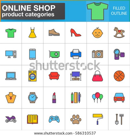 Shop Product Categories Line Icons Set Filled Outline Vector Symbol Collection Linear Style Pictogram