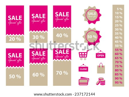 Shop sale labels set with percentages and shopping icons. Pink color.