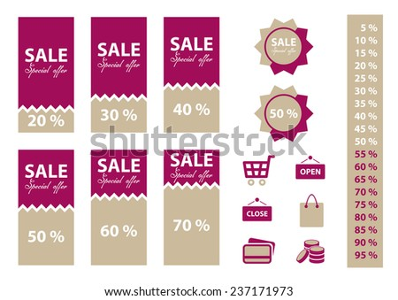 Shop sale labels set with percentages and shopping icons. Purple color.
