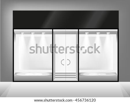 Shop showcase and entrance. Black and white vector glass store  - stock vector
