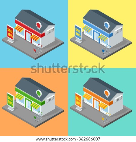 Shop Supermarket Exterior Shops Stores And Supermarket Buildings Flat Decorative Icons Set Isolated Vector