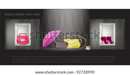 Shop window and Lady's things in it (bag, shoes, umbrella etc.) - stock vector