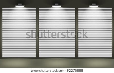 Shop with closed shutters windows, front view. Part of set. Vector exterior. - stock vector