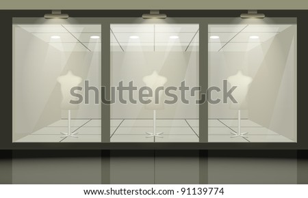 Shop with glass windows, front view. Vector exterior. - stock vector