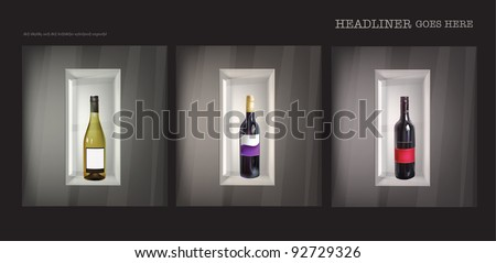 Shop wondow with wine bottels in it - stock vector
