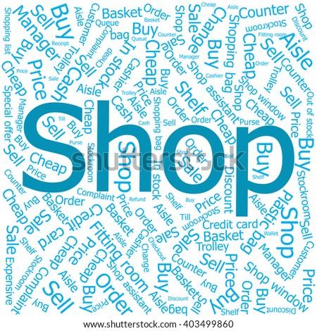 shop,Word cloud art background - stock vector