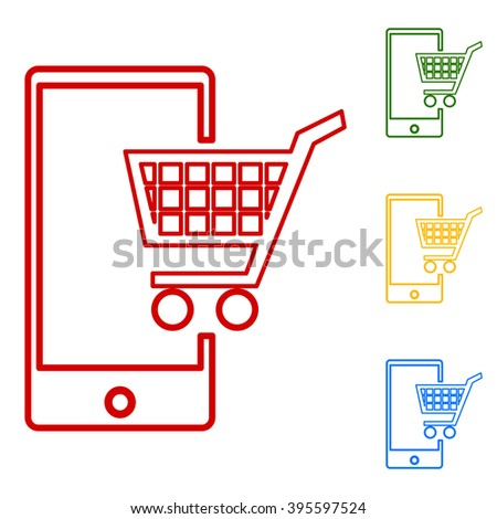 Shoping on smart phone sign - stock vector