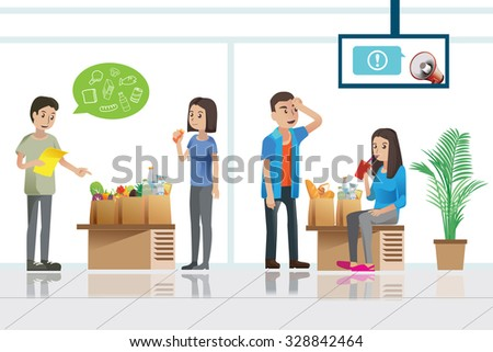 shopper waiting in service room after they just shopping in store.Illustration for idea of shopper.Approach to communication for supermarket.Graphic design and vector EPS 10. - stock vector
