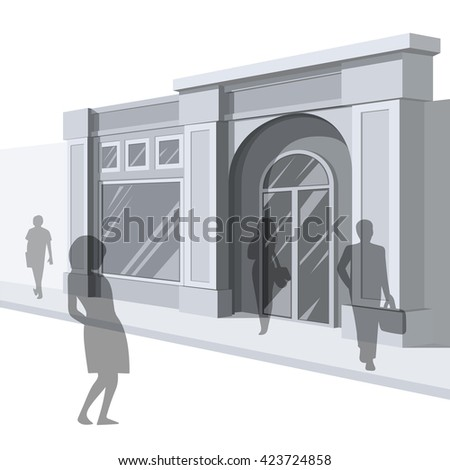 Shopping. Abstract illustration of Shop Facade and People Shopping. Side view. Retail Series. Vector EPS10. - stock vector