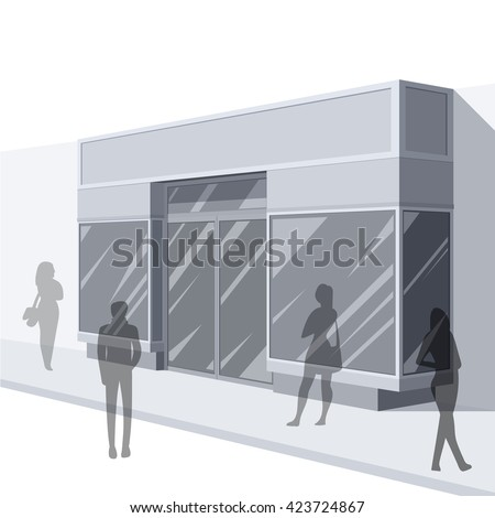Shopping. Abstract illustration of Urban Shop Facade and People Shopping. Side view. Retail Series. Vector EPS10.