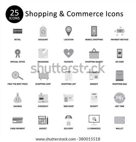 Shopping and Commerce Icon Set. Abstract vector set of Gray flat shopping and commerce icons - stock vector