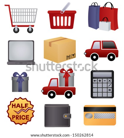 shopping and delivery (set of vector icons) - stock vector