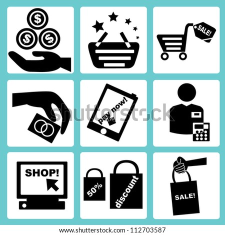 shopping and e commerce icon set