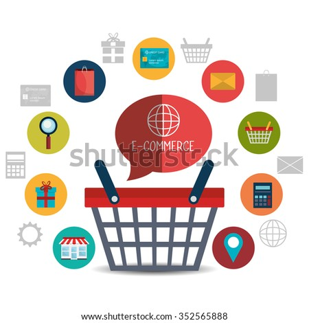 Shopping and ecommerce graphic design with icons, vector illustration - stock vector