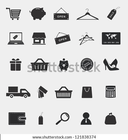 shopping and electronic commerce web icons set - stock vector