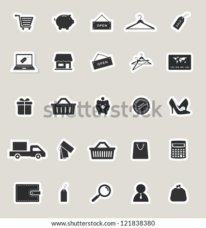 shopping and electronic commerce web icons set. paper stickers - stock vector