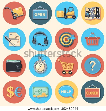 shopping and logistic icon set - stock vector