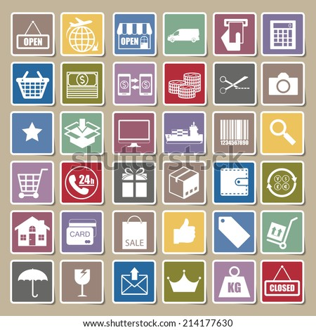 Shopping and logistic icons Sticker set, vector - stock vector