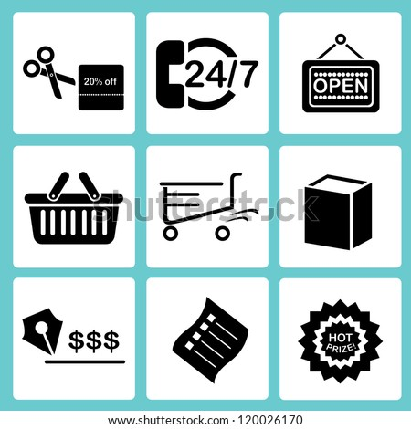 shopping and market icon set - stock vector