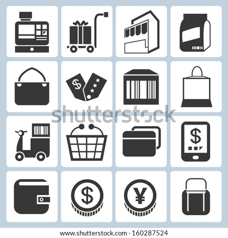 shopping and modern trade icons - stock vector