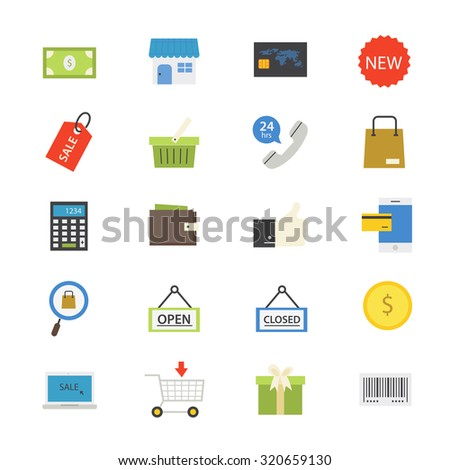 Shopping and Online Shopping Flat Icons color - stock vector