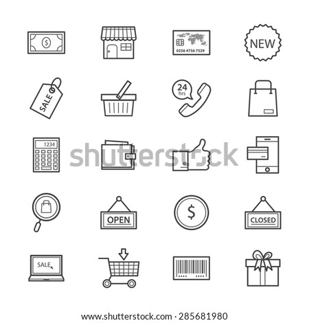 Shopping and Online Shopping Icons Line - stock vector