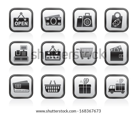 shopping and retail icons - vector icon set