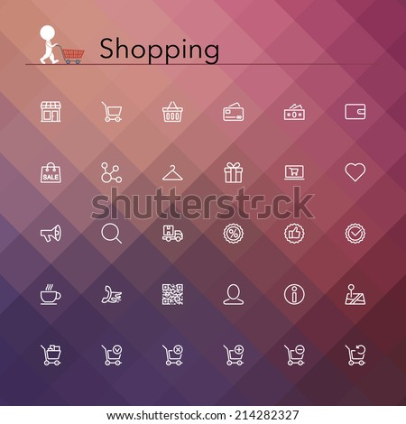 Shopping and sale line Icons set. Vector illustration.