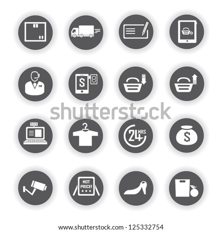 shopping and supermarket icon set - stock vector