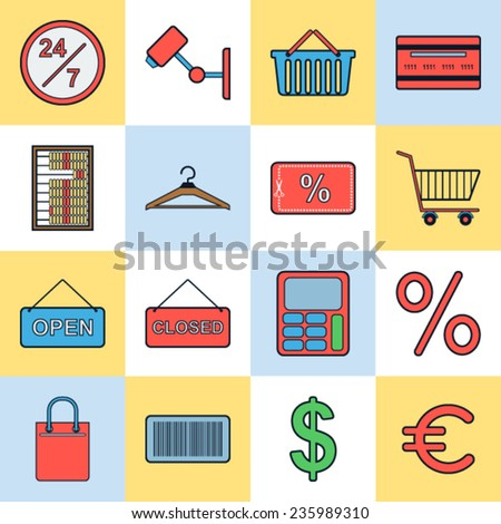 Shopping and trading icons vector set - stock vector