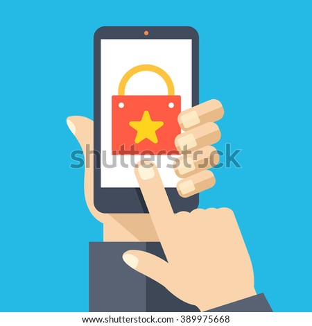 Shopping app on smartphone screen. Mobile shopping. Hand holding smartphone, finger touch screen. Modern concept for web banners, web sites, infographics. Creative flat design vector illustration - stock vector