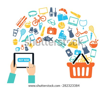 Shopping background concept with icons shopping online, using a PC, tablet or a smartphone. Can be used to illustrate mobile communication topics or consumerism. - stock vector