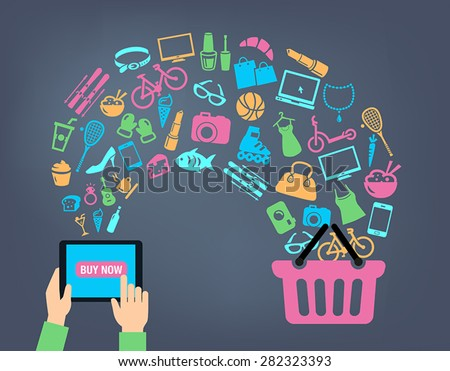 Shopping background concept with icons. shopping online, using a PC, tablet or a smartphone. Can be used to illustrate mobile communication topics or consumerism.