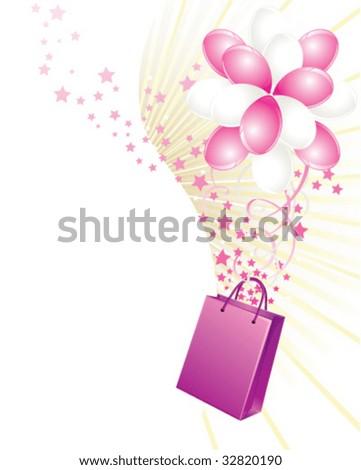 Shopping bag and balloons - stock vector