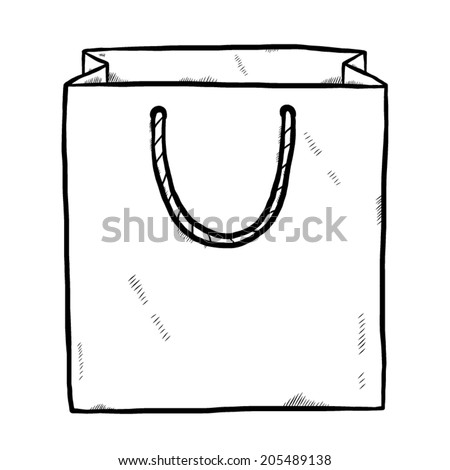 shopping bag / cartoon vector and illustration, black and white, hand drawn, sketch style, isolated on white background. - stock vector