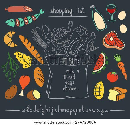 Shopping bag chalkboard hand drawn sketch with set of colorful cartoon style food stickers and hand written font. Vector illustration isolated over black background. - stock vector